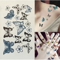 Wholesale Tattoo Transfers Lip - Professional Black Butterfly Flower Waterproof Temporary Tattoos Sticker Transfer Sexy Body Art Fake Tattoo Paper Kit Tips