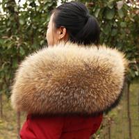 Wholesale furs scarf resale online - Winter Women Large Real Raccoon Fur Collar Large Hooded Furs Real Raccoon Color Fur Collar Top Quality F09