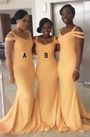 Wholesale cold dresses - Fashion Mermaid V-Neck Sweep Train Yellow Satin Cold Shoulder Bridesmaid Dress party dresses for women Party Gowns