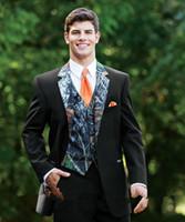 Wholesale unique mens pants - 2015 New Camouflage Tuxedos Unique One Button Camo Mens Wedding Suits Notched Lapel Groom Wear Prom Suits For Men ( Jacket+Pants+Vest+Tie)