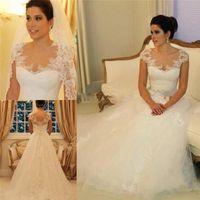online shopping Dress Gowns - 2017 Country Style Wedding Dresses Cap Sleeve Sheer A-Line Bridal Gowns Handmade Vestido De Noiva Sereia