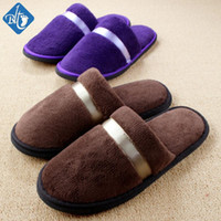 Wholesale Wholesale Women House Slippers - Wholesale- 2016 Men Women Hotel Slippers Anti-slip Warm Home Indoor Shoes Travel Slippers Pantuflas Coral Fleece House Slipper Pantufa