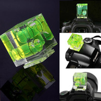 Wholesale Axis Bubble - Wholesale- Camera Accessories Triple 3 Axis Bubble Spirit Level Hot Shoe Adapter For Dslr Slr Cameras Photo Studio Accessories
