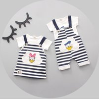 Wholesale Donald Duck Rompers - Baby Boys Girls Sets Cartoon Donald Duck T-shirt Rompers Girls Daisy T-shirt Striped Pants 2pcs Suits Summer Kids Clothing 155