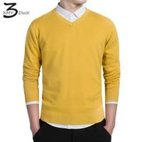 Wholesale Premium V Neck - Wholesale- XMY3DWX stylish men fall slim Fit v-neck sweater Male premium brand leisure Set head knit shirt Large size knitted sweater XXXL