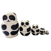 Wholesale Handmade Wooden Paintings - Matryoshka Panda 5 In 1 Wooden Russian Hand Painted Nesting Dolls Cartoon Handmade Souvenirs Toys with Box for Kids Xmas Gift