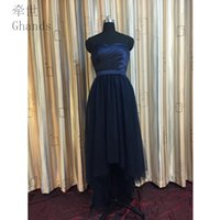 Real Photos black eveningdress - 2017 New Cheap A line Tulle Satin Sweetheart Elegant Sleeveless Detachable Hi Lo Strapless Draped Bridesmaid EveningDress Custom Size Color