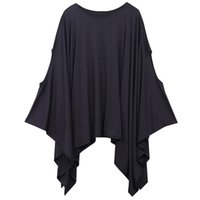 Wholesale Oversized Womens Shirts - Wholesale- New 2016 Womens T Shirts Sexy Oversized Asymmetric Tunic Poncho Cape Casual Top For Women Batwing Sleeve irregular Loose t-shirt