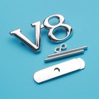 Wholesale Audi Grill Emblem - OTOKIT Metal V8 Front Grill Emblem Sticker Badge For Audi Toyota Auto Car Styling Accessories