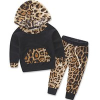 Wholesale Newborn Infant Baby Girls Clothes Leopard Hooded Sweatshirt Tops T Shirt Pants Outfits Tracksuit Kids Clothing Set