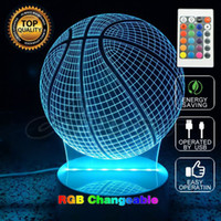 Wholesale Led Gadget Halloween - Newest Blub Lamp 3D Remote Optical Basketball Shape Bedroom Night Light Bedside Nightlight for Child Electronic Lighting Gadget