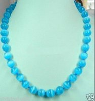 Collier D'opale Mexicain Bleu Pas Cher-Charmant! AAA 10mm bleu opale mexicaine Gemstone Necklace 18 ''