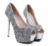 Wholesale Shoes High Platform Sequin - Bridesmaid high heel platform peep toe pumps glitter silver sequins wedding shoes size 34 to 39
