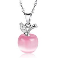sevimli kız opal toptan satış-Yeni Sevimli Beyaz Kırmızı Elma Kolye Kolye Kadın Kızlar için Kristal ve Opal Kolye Kolye Moda Güzel Klaviküler Zincir Takı