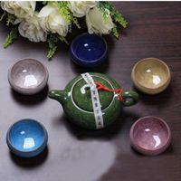 Wholesale China Glaze Sets - YGS-Y258 High Quality 7 pcs lot China Dehua Colorful ceramic cup Binglie tea cup Beautiful Environmental protection