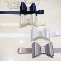 Wholesale Different Color Rhinestones - Fashion Rhinestone Wedding Belts Bow Different Color Bridal Sashes 175*3.5cm Accessories For Women In Stock