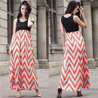 Wholesale Wavy Skirts - New Design Women Sexy Vest Long Dress latest summer low round collar Sleeveless Maxi Bohemian Slim Skirts Long Printing Wavy Dress