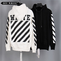 Wholesale Hoodies Sweatshirts Free Shipping - New Brand OFF WHITE Mens Pullover Stripe Offset Print Hoodies Fleece Sweatshirts Brand Vision Religion Painting VIRGIL ABLOH Free Shipping