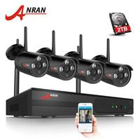 cctv 2tb hdd venda por atacado-ANRAN 4CH 1080 P HDMI Wifi Sistema de Câmera de Segurança NVR Matriz IR Ao Ar Livre Câmera CCTV Sem Fio Sistema de Vigilância Sem Fio 2 TB HDD Opcional