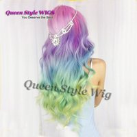 Wholesale Green Wavy Long Synthetic Wig - Synthetic Peruca Long Wavy Purple Pink Pestal Mint Green Transparent Yellow Colorful Candy Ombre Rainbow Hair Capless Wig  Lace Front Wig