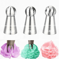Wholesale Tools Baking Butter Cake - Wholesale- 3pcs set Sphere Ball Nozzles Cream Stainless Steel Icing Piping Chocolate Cake Pastry Tips Fondant Cupcake Butter Baking Tool