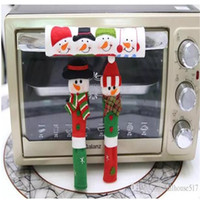 Wholesale Handles For Kitchen - Christmas Refrigerator Door Ornaments Fridge Knob Decoration Microwave Oven Snowman Kitchen Appliance Handle Covers for Home Set of 3