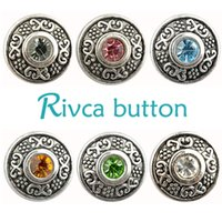 Rivca Snaps Button Jóias Hot wholesale Estilo de mistura de alta qualidade 18mm Metal Ginger Snap Button Charm Rhinestone Styles NOOSA pedaço D02061