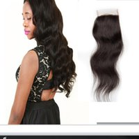 Wholesale Human Hair Top Piece Wigs - 8A Darcy Human Hair Closure 4*4 Economic Body Wave Brazilian Top Lace Closure Piece Bleached Natural Black Color