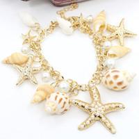 brazaletes del océano al por mayor-2017 bohemio estrella de mar seashell charm bracelet joyería hecho a mano vintage ocean sea star shell concha brazalete de perlas brazalete para las mujeres