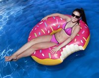 Wholesale Inflatable Toys For Women - Swimming Pool Float Gigantic Donut Inflatable Pool Float Raft Beach Toys Pool Float Lake Toy For Adult Floats Strawberry Chocolate KKA226