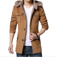 Wholesale Business Hats - Wholesale- 2016 new high quality autumn and winter coat male Korean business casual men's woolen jacket Slim long sections coat tide youth