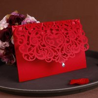 Wholesale China Wedding Invitation Cards - Wholesale- 2016 Vintage Wedding Supplies China Laser Cut Luxurious Wedding Invitations 65pcs Red Elegant Wedding Invitation Paper Cards