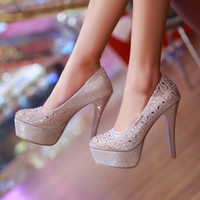 Wholesale Taiwan Sexy Gold - New sexy nightclub waterproof Taiwan ultra-high documentary shoes for women's shoes with diamond thin bride wedding shoes gold