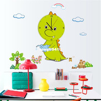 Wholesale Wall Clock For Children Room - 70x89cm Anime characters cartoon dragon pattern clock wall stickers baby room kindergarten bedroom children room decoration wall stickers