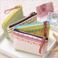 Wholesale Country Style Bags - Wholesale- Country Style Women Small Storage Bags for Key Card Headphone Coin Purse Practical Canvas Daily Little Bags Travel Accessories