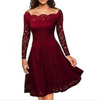 Wholesale Evening Grown Dresses - Elegant Women Evening Party Dress Solid Full Sleeve Wave Slash Neck Lace Dresses Pleated Ball Grown Plus Size Dress