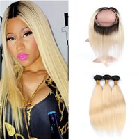 karanlık sarışın vücut dalga saç toptan satış-Ombre Saç Uzantıları # 1b 613 Sarışın Ombre Koyu Kök İnsan Saç 360 Dantel Frontal Kapatma Ile Iki Ton Vücut Dalga Saç 4 Adet Lot