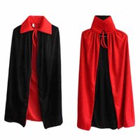 Wholesale Magic Vampire - 90Cm Halloween Masquerade Party Costume Decoration Black Red Double Sided Neckband Vampire Cape Death Devil Magic Cape