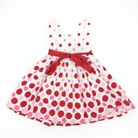 Wholesale Soft Printed Dress - Kids Clothes Girls Summer Dresses Cotton Dot Sleeveless Belt Soft High Quality American Style Children Girls Clothes