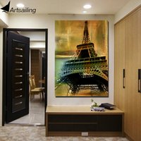 HD Imprimé 1 Piece Canvas Art Eiffel Tower Vintage Painting Wall Pictures pour Living Room Framed Wall Art Expédition gratuite NY-6917D