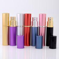 Wholesale Perfume Bottle Packaging Boxes - 5ml Aluminum Glass Bottle 5ML Gift Perfume Bottles High Quality Refillable Mini Scent-bottle Perfume Spray Atomizer
