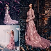 Wholesale Elegant Style Evening Gowns Sheer Scoop Neckline Appliqued Party Pageant Dress Open Back Custom Made Tulle Prom Dresses Long Sleeve