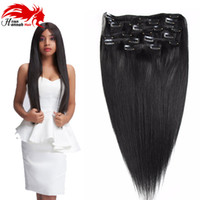 Wholesale indian real human hair extensions for sale - Group buy Clip in Human Hair Extensions Real Remy Thick True Double Weft Full Head Pieces Straight silky