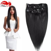 saç uzatma atkı parçaları toptan satış-İnsan Saç Uzantıları Klip 100% Gerçek Remy Kalın Gerçek Çift Atkı Tam Başkanı 8 Parça Düz ipeksi