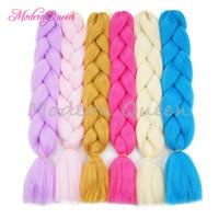 Wholesale cheap ombre braiding hair online - Cheap Kanekalon Synthetic Crochet Braiding Hair inch g Pure Color Jumbo Braid Hair Extensions Colors Optional Cheap Braids Hair Bulk