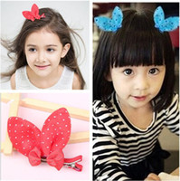 Wholesale Ear Security - 2017 hot selling Rabbit ears Baby security clip butterfly edge clip children hairpin sell Meng head decoration