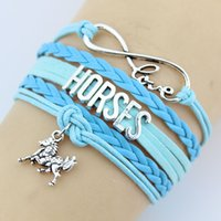 Wholesale Traditional Christmas Dress - Fashion Charms Leather Bracelets Horse Bangles 4 colors Infinity Love Horse Bracelets party dress jewelry