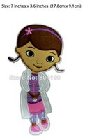 """Wholesale Girls Patching Dress - 7"""" Doc McStuffins Dr Stuffins Film TV MOVIE NEW Classic Lovely Cartoon Girl Dress Embroideried Patch Logo Badge Free Shipping"""