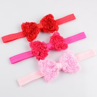 Wholesale Rosette Chiffon Hair Bow - free shipping 30pcs lot chiffon rosette hair bows elastic ribbon head band,baby girls newborn infants hairbands bow headbands FD74