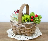 Wholesale Large Baskets Wholesale - 6PCS-PACK Mini Pure handmade basket Wicker rattan vases pots home decoration decorations flower arrangement flower basket Brown with Handle